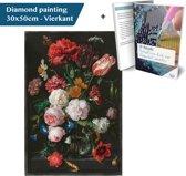 Diamond Painting Bloemen in Vaas 30x50 Vierkant Full met e-book, Hebron®