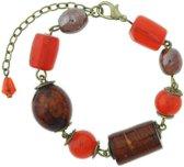 Behave® Dames kralen armband rood bruin 22 cm