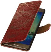 Wicked Narwal   Lace bookstyle / book case/ wallet case Hoes voor Samsung Galaxy A3 (2016) A310F Rood