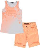 Losan Meisjes Set(2delig) Bermuda Zalm met Wit Shirt - Maat 128