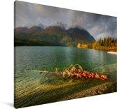 Meer in het Nationaal park Kluane in Canada Canvas 180x120 cm - Foto print op Canvas schilderij (Wanddecoratie woonkamer / slaapkamer) XXL / Groot formaat!