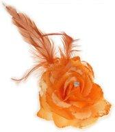 Bloem op speld/elastiek oranje