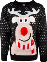 JAP Foute kersttrui - Rudolf met 3D neus voor volwassenen - Dames en heren - L - Zwart