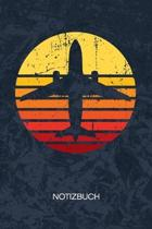 Notizbuch: A5 Kariert - 80er Kinder Heft - Retro Notizheft 120 Seiten KARO - Retro Style Notizblock Vintage Flugzeug Motiv - 90er