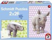 Schmidt puzzel dierentuin babys 2 x 26 stukjes