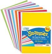 Voordeelpakket karton en papier zomerkleuren  (100 stuks per verpakking)