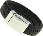 Leren Heren Armband Bukovsky SL8870 - Zwart - Gepolijst Staal - 316L Stainless Steel