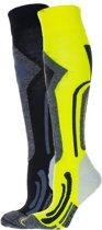 Falcon Coolly Wintersportsokken - Maat 43-46 - Unisex - geel/ grijs/ zwart