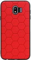 Wicked Narwal | Hexagon Hard Case voor Samsung Samsung Galaxy J4 Rood