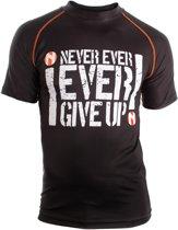Nihon Thermoshirt Rashguard Never Give Up Heren Zwart Maat L