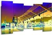 Canvas schilderij Brug | Geel, Blauw, Paars | 150x80cm 5Luik