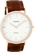 OOZOO Vintage C7756 - Horloge - Leer - Bruin - 44 mm