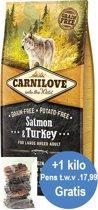 Carnilove Zalm&Kalkoen adult (70%vlees) 12kg + 1kg pensstaafjes gratis twv 17,99