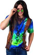 """""""Blauwe hippie fopshirt voor volwassenen  - Verkleedkleding - Large"""""""