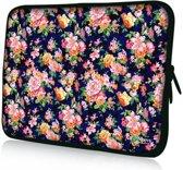 Sleevy 15,6 laptophoes oranje/roze bloemetjes - Laptop sleeve - Macbook hoes - beschermhoes