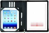 Leren Tablet schrijfmap A4 met rits - Zwart