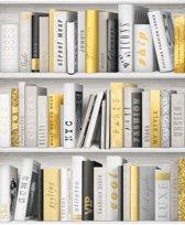 Faux Semblant boekenkast wit/goud behang (vliesbehang, wit)