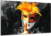 Glasschilderij Masker | Zwart, Grijs, Oranje | 120x70cm 1Luik | Foto print op Glas |  F002097