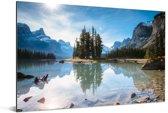 Het Nationaal park Jasper in Noord-Amerika op een zonnige dag Aluminium 120x80 cm - Foto print op Aluminium (metaal wanddecoratie)