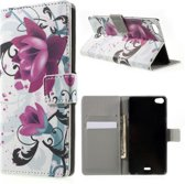 Lotus print wallet case hoesje Huawei G Play Mini
