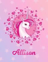 Allison: Unicorn Large Blank Primary Sketchbook Paper - Pink Purple Magical Horse Personalized Letter A Initial Custom First Na