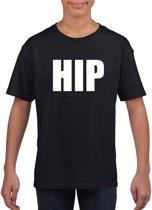 Hip tekst t-shirt zwart kinderen M (134-140)