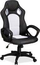 relaxdays Gaming stoel XR9, PC gamestoel, gamer bureaustoel, belastbare Racing stoel wit