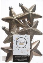6x Kasjmier bruine sterren kerstballen 7 cm - Glans/mat/glitter - Onbreekbare plastic kerstballen - Kerstboomversiering kasjmier bruin