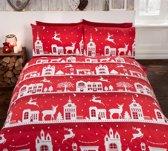 1 persoons dekbedovertrek kerst met rendieren rood flanel