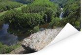 Uitzicht op het landschap van het Oostenrijkse Nationaal Park Thayatal Poster 90x60 cm - Foto print op Poster (wanddecoratie woonkamer / slaapkamer)