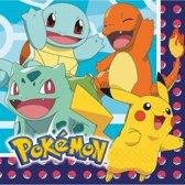 16x Pokemon themafeest kinderfeestje servetten 33 x 33 cm - Thema feest servetten