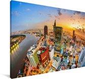 Luchtfoto en zonsondergang in de Vietnamese stad Ho Chi Minhstad Canvas 140x90 cm - Foto print op Canvas schilderij (Wanddecoratie woonkamer / slaapkamer) / Aziatische steden Canvas Schilderijen