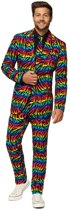 Heren kostuum Wild Rainbow zebra regenboog - Opposuits pak - Verkleedkleding/Carnavalskleding 50 (L)