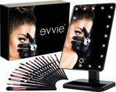 Evvie Cadeauset met make-up spiegel Deluxe met LED verlichting – inclusief 20-delige kwastenset – geleverd in chique geschenkdoos