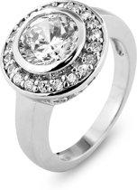 Silventi 943282851 60 Zilveren Ring - Rond zirkonia 8 mm - Zilverkleurig