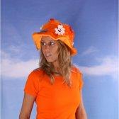 Oranje supporters dameshoed met bloemen