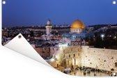 De Aziatische westmuur met Jeruzalem in Israël op de achtergrond Tuinposter 180x120 cm - Tuindoek / Buitencanvas / Schilderijen voor buiten (tuin decoratie) XXL / Groot formaat!