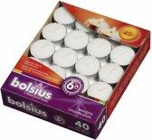 Bolsius Waxinelichtjes - Branduren 6 uur - Wit - 40 stuks