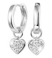 Lucardi - Zilveren oorbellen Swarovski Crystals hanger hart