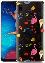 Galaxy A20 Hoesje Summer Flamingo