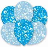 Blauwe geboorte ballonnen jongen 6 stuks - Jongen geboren versiering
