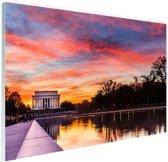 Zonsondergang Lincoln Memorial Glas 180x120 cm / XXL / Grote Poster - Wanddecoratie cm - Foto print op Glas (Plexiglas wanddecoratie) cm - Foto print op Poster (wanddecoratie) / Steden Poster