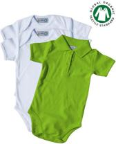TOSKE 3-pak baby rompers korte mouw/polokraag - Wit/lime groen - Maat 74/80