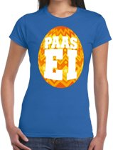 Paasei t-shirt blauw met oranje ei voor dames XL