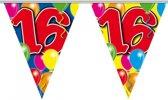 3x Leeftijd versiering vlaggenlijnen / vlaggetjes / slingers 16 jaar geworden thema 10 meter