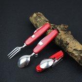 Outdoor Tableware Stainless Steel Spoon / Fork / Knife / Bottle Opener 4 in 1 Multifunctional Folding Cutlery Set