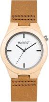 HOT&TOT Amici Castano - Houten horloge - Leer - Beige - Bruin - Wit - ø 38 mm