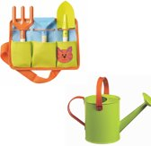 Set 6: metalen gieter, tuinierset riem met attributen voor kinderen
