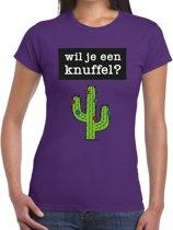 Wil je een knuffel tekst t-shirt paars dames - dames shirt  Wil je een knuffel? L