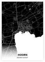 Hoorn plattegrond - A3 poster - Zwarte stijl